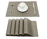 Homcomoda Platzdeckchen Abwaschbar Tischsets 6er Set PVC Vinyl Rutschfest Hitzebeständig Platzsets 30x45 cm