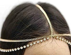 Style Gallery celebrity Inspired Stylish Partywear Gold Rhinestone Head Chain Delicate headgear for Women