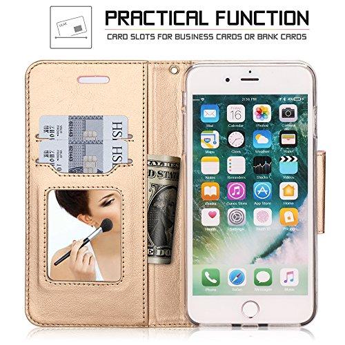 iPhone 8 Plus Hülle , iPhone 7 Plus Hülle, Fyy® Hochwertige Kunstleder Tasche mit Spiegel und Schleifen für Apple iPhone 8/7 Plus , Rosa Gold+Gold B-Rosa-Pat