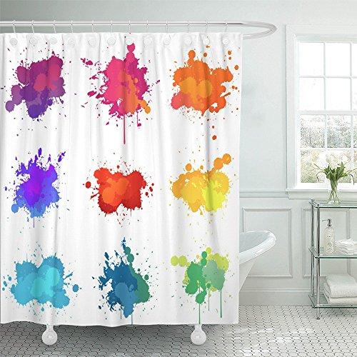 Emvency Duschvorhang, wasserabweisend, 182,9 x 182,9 cm, blauer Spritzlack, violetter Farbspritzer mit Tintenflecken, abstrakte Form, Heimdekoration, Polyester-Stoff, verstellbarer Haken, multi, 72x72