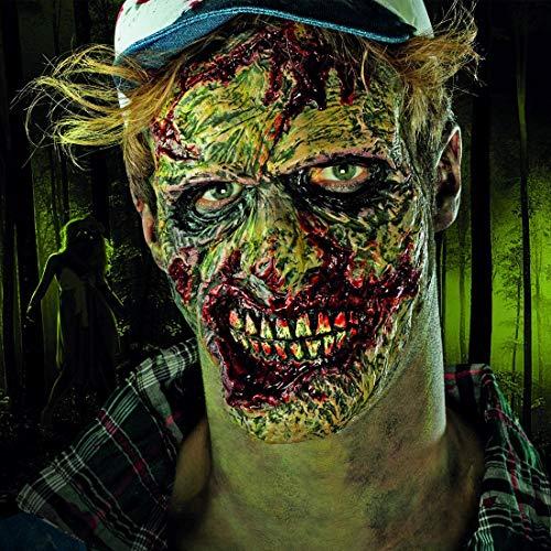 Amakando Gruselige Gesichtsmaske Serien-Mörder / Mit Kleber / Kostüm-Zubehör für Erwachsene blutbefleckter Untoter Psychopath / zu Gruselparty & Karneval