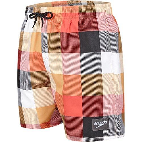 Speedo Herren Printed Check Leisure Black/Lava Red/Mango