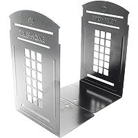 Bookends Pair Non-Slip Heavy Metal Durable Sturdy Strong Books Organizer Telephone Booth Bookshelf Decor Decorative…