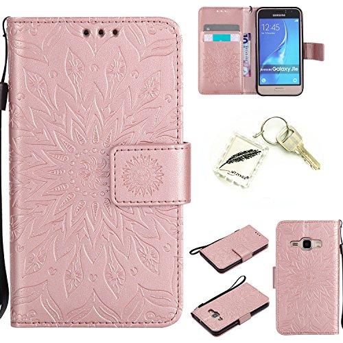 Preisvergleich Produktbild Silikonsoftshell PU Hülle für Samsung Galaxy J1 (2016) /J120 (4,5 Zoll) Tasche Schutz Hülle Case Cover Etui Strass Schutz schutzhülle Bumper Schale Silicone case+Exquisite key chain X1#KC (1)