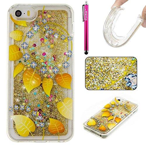 iPhone 5C Hülle, Firefish Glitter Liquid Cover Slim Weiche TPU Gummi Silikon Fall Impact Resistant Durable Schutzhülle für Apple iPhone 5C (Vintage Galaxy Rock)