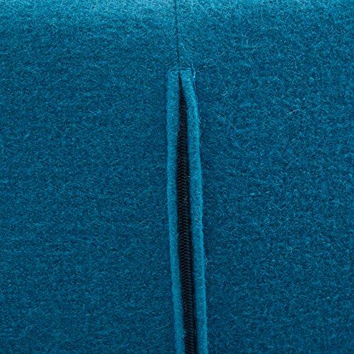 Designer Ohren-Sessel petrol mit Armlehnen aus Wolle blau | Anjo | Blauer Club-Sessel im Retro-Design mit Gestell in Holz | Moderner Wohnzimmer-Sessel auch als Relax-Sessel zu benutzen - 6