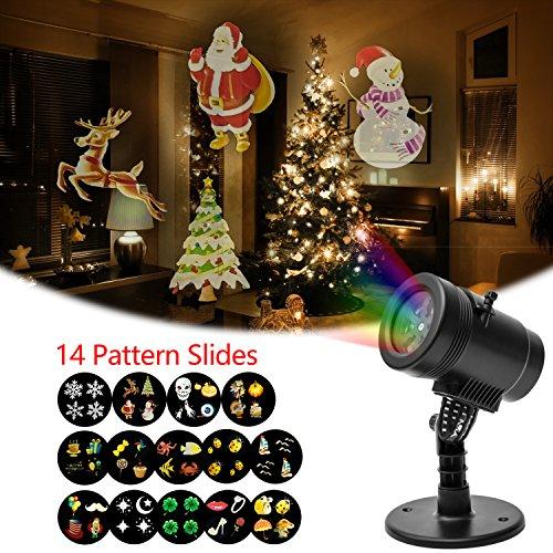 Mini Projektor Licht mit 14austauschbare Folien für Outdoor Innen Weihnachten Halloween Geburtstag Party Home Garten Urlaub Dekorationen