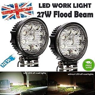 Autofather New 2X Car Truck 27W 12V24V Round LED Work Light Flood Beam Driving Bright Bulb