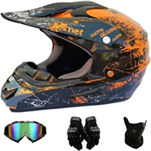Amcyt Motocross Helme Motorradhelm Cross Helme Schutzhelm Motocross Helm Für Motorrad Crossbike Off Road Enduro Sport Jugend Motocross Helm Kinder Motorrad Fahrrad Helm S Auto
