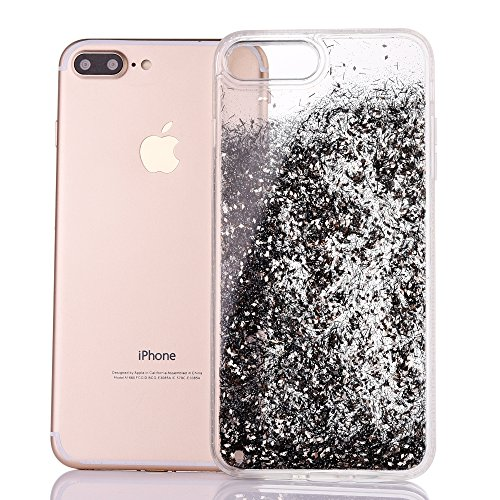 Cover iPhone 7Plus, CLTPY iPhone 7Plus Trasparent Liquidi Custodia con Flowing Sparkles Argento Shinny Glitter Scintillio Bling Polvere, Soft TPU Diamant Bumper Rigida Back Case per Apple iPhone 7Plus Nero
