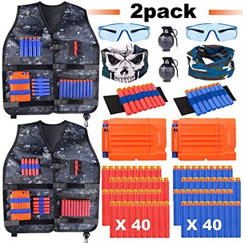 INNOCHEER Taktische Weste 2 Pack für Kinder, Taktische Jacke Kit für Nerf Gun Nerf Fortnite N-Streik Elite-Serie und zubehör für Nerf (Nerf Im Streik)