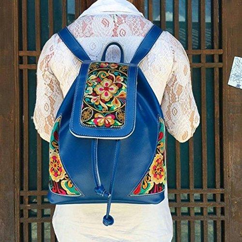 Meine Damen national wind Leder bestickt Umhängetaschen elegante Rucksack Taschen, orange-rot Blue