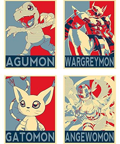 Satz von Mini-Poster - Propaganda Digimon - 4 Post-Karten (20x15 cm) (Mini Digimon)
