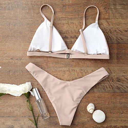 Kword Donne 2 pezzi Bikini Set Push-up imbottita reggiseno spiaggia costume da bagno libero Khaki