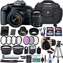 "Canon EOS Rebel T7i 24.2 MP DSLR Camera With EF-S 18-55mm F/4-5.6 Is STM Lens + 2 Memory Cards + 2 Auxiliary Lenses + HD Filters + 50"" Tripod + Premium Accessories (23 Items)"