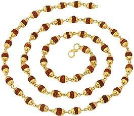 Shree Shyam Gems and Jewellery- Unisex Gold Plated 24K Yellow Copper Rudraksha Mala| 5 Mukhi Rudraksha Mala| Rudraksha Chain (27-inch)