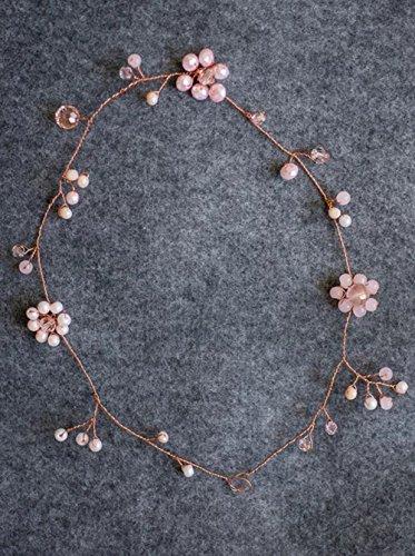 fxmimior Brautschmuck Rose Gold Pastell Haarband Rosa Blume Stirnband Vine Glasperlen Cherry Hochzeit Haar Zubehör Flower Girl Haar Schmuck Frauen Kopfbedeckung Tiara
