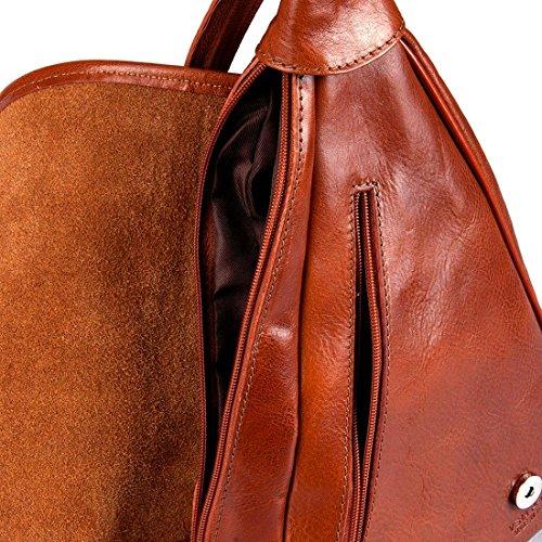 MICHELANGELO handgefertigt italien - Rucksack Tasche,One-Shoulder, aus echtem Leder 23x9 H34 cm Braun