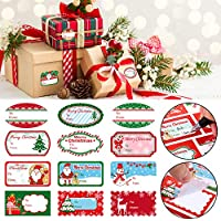 Étiquettes Autocollantes de Noël Nom Tag de Cadeau Autocollants de Noël avec Père Noël Claus Bonhommes de Neige Arbre de Noël Cerf Autocollants pour Festival Noël Anniversaire Mariage Présente (102)