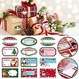 Natale Auto Adesive Etichette Regalo Nome Adesivi con Babbo Natale Pupazzi di Neve Natale Albero Cervi per il Festival di Natale Compleanno Regalo Etichette (Colore 1)