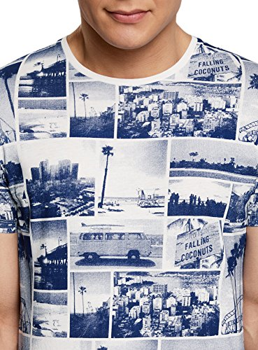 oodji Ultra Herren Bedrucktes Baumwoll-T-Shirt Weiß (1279G)