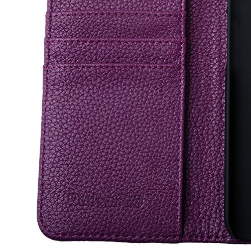 iPhone 6 Plus Coque, wisdompro® Premium en cuir PU de protection 2 en 1 [Folio Étui portefeuille à rabat] avec emplacements pour carte de crédit/support et dragonne pour Apple 14 cm iPhone 6 Plus Purple with lanyard