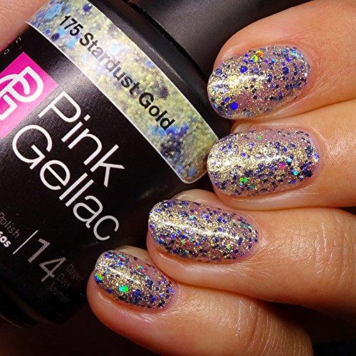 Vernis à ongles Pink Gellac 175 Stardust Gold. 15 ml gel Manucure et Nail Art pour UV LED lampe, top coat résistant shellac