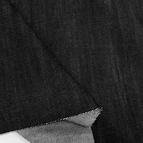 TOLKO Schwerer Jeans-Stoff - Robuste Baumwolle mit Stretch - farbecht - als Meterware für Hose Jacke Rock (Denim Schwarz)