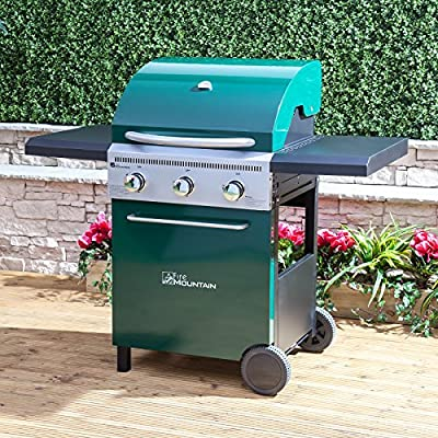 Fire Mountain Logan 3 Burner Gas Barbecue - 127cm W x 112cm H, Cast Iron Grill, Piezo Ignition, Temperature Gauge, Side Shelves, Green Steel, Free Propane Regulator & Hose by Fire Mountain