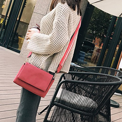 BZLine® Frauen Leder Solide Haspe Messenger Bags Crossbody Umhängetaschen Rot