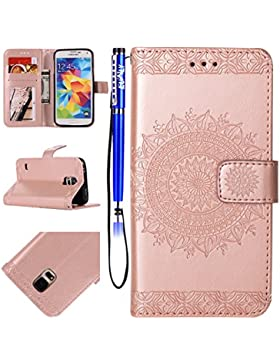 EUWLY Leder Schutzhülle für [Samsung Galaxy S5], Schön Retro Brieftasche Hülle Leder Tasche Handyhülle Kunstleder...