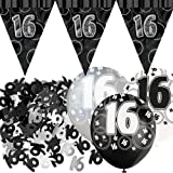 """""""16"""" Geburtstagsdeko-Set-Banner/Ballons/Konfetti Schwarz Glanz"""