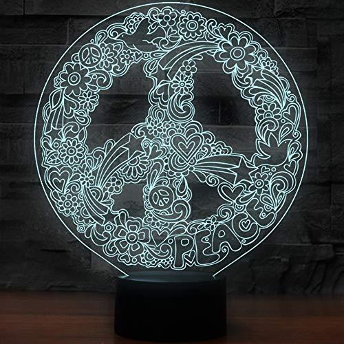 3D Hippie peace Zeichen kunst Lampe optische Illusion Nachtlicht, 7 Farbwechsel Touch Switch Tisch Schreibtisch Dekoration Lampen perfekte Weihnachtsgeschenk mit Acryl Flat ABS Base USB Spielzeug