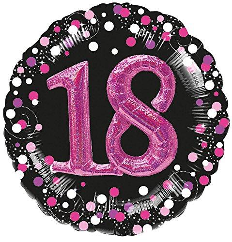 Folienballon * 18. Geburtstag * in Magenta mit 3D-Effekt und Holografie-Optik | Metallfolie Ballon Deko Dekoration Party Geburtstag Helium Achtzehn (Achtzehnten Geburtstag Dekorationen)