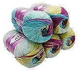 Alize Cotton gold 5 x 100g Strickwolle 55% Baumwolle, 500 Gramm Wolle mit Farbverlauf Mehrfarbig (Beere Mint Gelb Creme 6519)