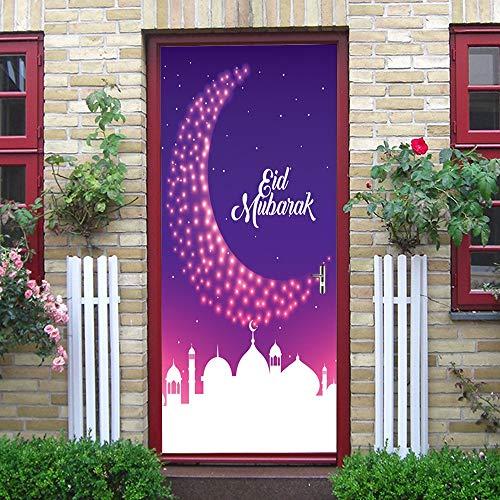 ZLRN Moslemisches Ramadan-Feiertags-Festival-lila Mond-Tür-Aufkleber-Kunst-Dekor-Vinyltür-Plakat-entfernbares Wandgemälde -