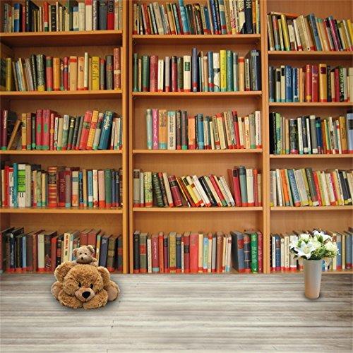 YongFoto 2x2m Vinyl Foto Hintergrund Bücherregal voll mit Büchern Holzboden Fotografie Hintergrund für Fotoshooting Portraitfotos Party Kinder Hochzeit Fotostudio Requisiten