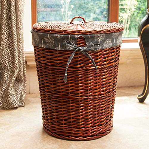 LGDBB Laundry Basket Rattan Wicker Woven Dirty Laundry Basket Receiving Bucket Clothes Basket Receiving Basket with Round Cover,Trumpet Without Cap,Red Brown and Blue Tree