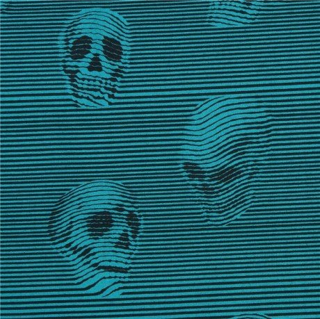 Black teal Alexander Henry fabric stripe skull Between The Lines (per 0.5m unit)