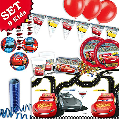 r Kinderparty Motto Rennwagen, 53-tlg. Deko Kindergeburtstag (Cars Geburtstag Party)