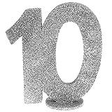 cama24com XXL Tischdeko Zahl 10 Geburtstag Silber Glitzer 1 Stück Party-Deko Palandi®