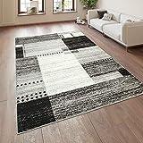 Paco Home Designer Teppich Kurzflor Wohnzimmer Meliert Karo Muster In Grau Schwarz Weiß, Grösse:200x280 cm