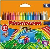 BIC Kids Plastidecor - Blíster de 18 unidades, ceras para colorear, colores surtidos