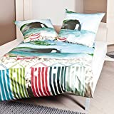 Janine Design Mako-Satin Bettwäsche Modern Art 42016-02 Aqua 135x200 cm + 80x80 cm