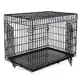 Songmics 2 Portes Cage Pour Chien - Pliable et Transportable - avec Poignée et Plateau - XXL: 122 x 76 x 81 cm PPD48H