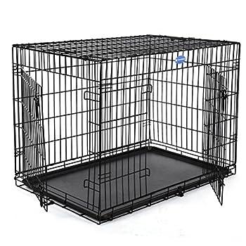 Songmics 2 Portes Cage pour chien pliable et transportable avec Poignées et Plateau noir 120 x 76 x 81 cm PPD48H
