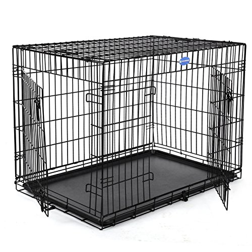 Songmics Hundekäfig Hundebox Transportbox Drahtkäfig Katzen Hasen Nager Kaninchen Geflügel Käfig schwarz XXL PPD48H