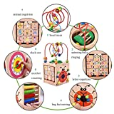 Enlarge toy image: Activity Cube Bead Maze Toy-Acwenie 7 in 1 Play Centre Wood Toy Playset For Kids and Babies,Including 7 Games in 1 Set