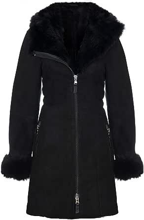 Infinity Leather Cappotto da Giacca da Donna in Montone Merino in Scamosciato Nero con Cappuccio