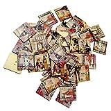 MagiDeal 50 Piezas Vintage Botones Cuadrados de Artesanía de Madera Forma de Sellos para Coser
